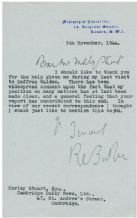 Rab Butler Autograph Typed Letter Signed